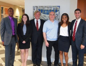 Fox School of Business alumnus Cosmo DeNicola, fourth from left, financed scholarships to the Leigh Steinberg Sports Agent Academy for four students from the School of Tourism and Hospitality Management. From left, STHM students JaCarl Smith and Kristen Kemnitzer, Steinberg, DeNicola, and STHM students Erin Johnson and Matthew Swiren.