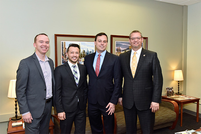 Whistle Sports Network CEO Brian Selander, third from left, meets with STHM Associate Director of Industry Relations Andrew Lovell, STHM Assistant Professor Dr. Thilo Kunkel, and STHM Associate Dean Dr. Aubrey Kent.