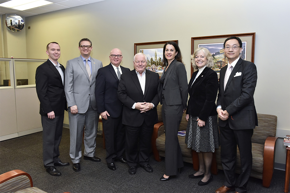 Roger Dow, center, President of U.S. Travel Association meets with senior leadership and faculty of Temple University's School of Sport, Tourism and Hospitality Management.